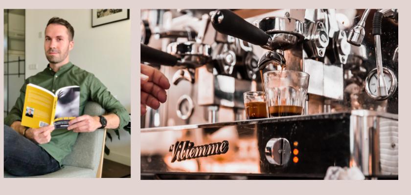 David werkt in een espressobar